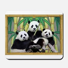 Black Panda Family Portrait Mousepad