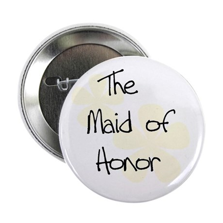 Yellow Flowers Maid of Honor Button