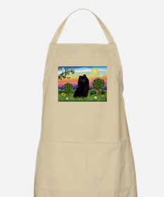 Schipperke in Bright Country BBQ Apron