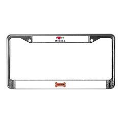 I LOVE MY PIT BULL License Plate Frame