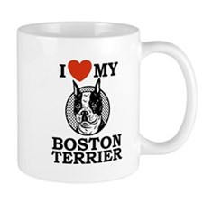 I Love My Boston Terrier Small Mugs