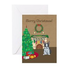 Boston Terrier Merry Christmas Greeting Cards (Pk