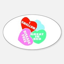 NAUGHTY HEARTS Oval Decal