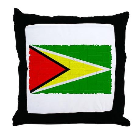 Vintage Guyana Flag Throw Pillow