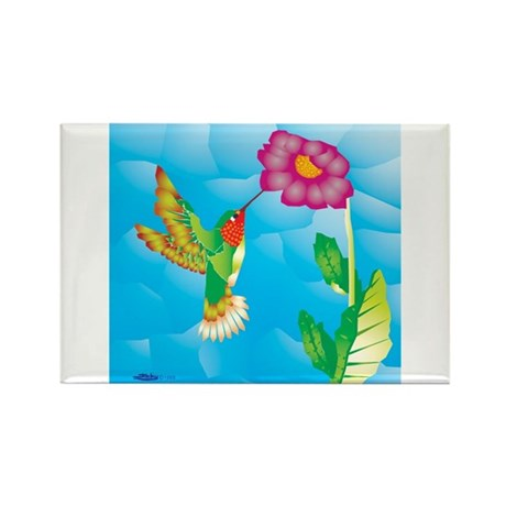 Jeweled Hummingbird Rectangle Magnet (100 pack)