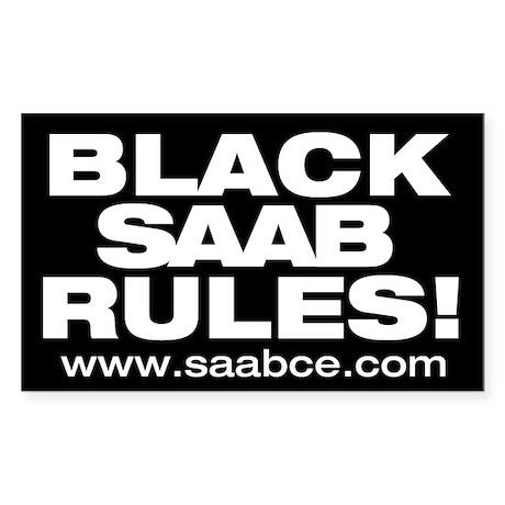"""""""Black Saab Rules"""" 5x3 sticker"""