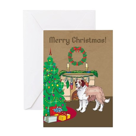 St Bernard Merry Christmas Greeting Card