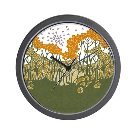 Arts and crafts trees wall clock by gurugoods for Arts and crafts style wall clock