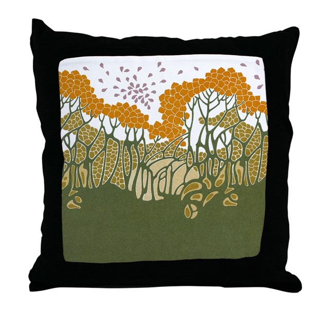 arts and crafts trees throw pillow by gurugoods