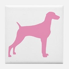 Pink Weimaraner Tile Coaster