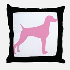 Pink Weimaraner Throw Pillow