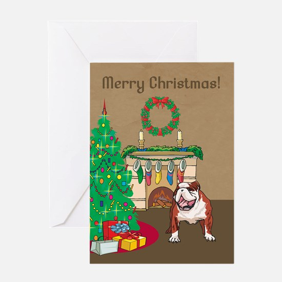Bulldog Merry Christmas Greeting Card