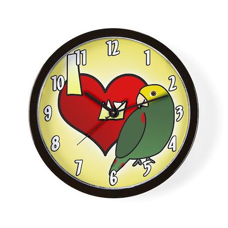 Love Double Yellow Headed Amazon Clock