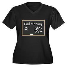 Phonetic Good Morning Women's Plus Size V-Neck Dar