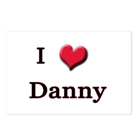 I Love (Heart) Danny Postcards (Package of 8)