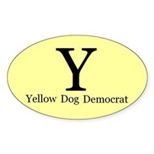 Yellow Dog Democrat Oval Decal