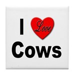 I Love Cows for Cattle Lovers Tile Coaster