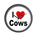 I Love Cows for Cattle Lovers Wall Clock