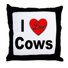 I Love Cows for Cattle Lovers Throw Pillow