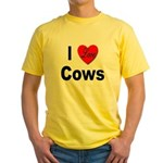 I Love Cows for Cattle Lovers Yellow T-Shirt