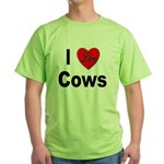 I Love Cows for Cattle Lovers Green T-Shirt