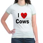 I Love Cows (Front) Jr. Ringer T-Shirt