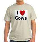 I Love Cows (Front) Ash Grey T-Shirt