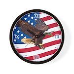 Bald Eagle w/ Flag Wall Clock