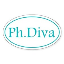 Blue Ph.D Oval Decal