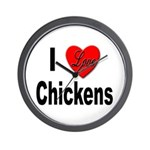 I Love Chickens Wall Clock