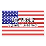 USA PROUD-President Ashamed Rectangle Sticker