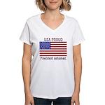 USA PROUD-President Ashamed Women's V-Neck T-Shirt