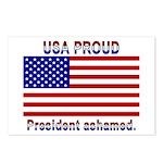 USA PROUD-President Ashamed Postcards (Package of