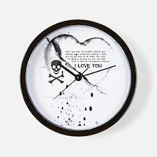 SKULL & HEART (i love you) Wall Clock