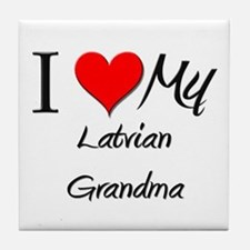 I Heart My Latvian Grandma Tile Coaster