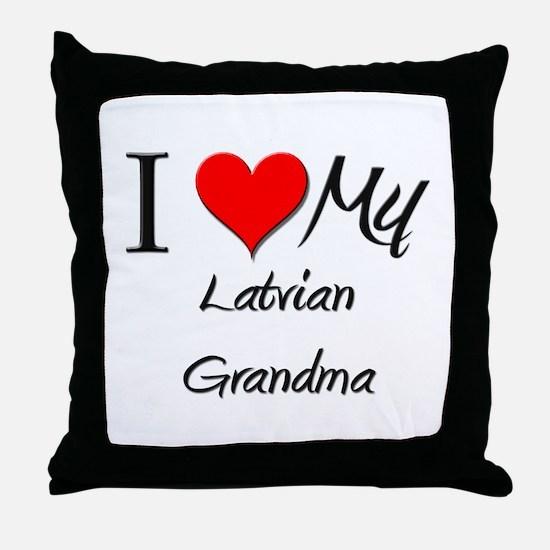 I Heart My Latvian Grandma Throw Pillow