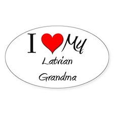 I Heart My Latvian Grandma Oval Decal