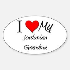 I Heart My Jordanian Grandma Oval Decal