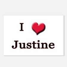 I Love (Heart) Justine Postcards (Package of 8)