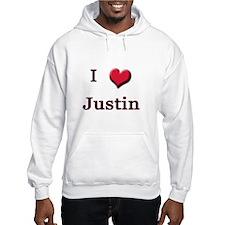 I Love (Heart) Justin Hoodie