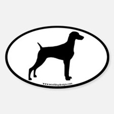 Weimaraner Oval (black border) Oval Decal