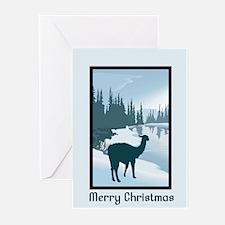 Scenic Winter Alpaca Merry Christmas Greeting Card