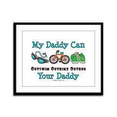My Daddy Triathlon Framed Panel Print