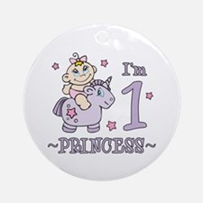 Unicorn Girl First Birthday Ornament (Round)