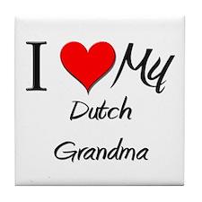 I Heart My Dutch Grandma Tile Coaster