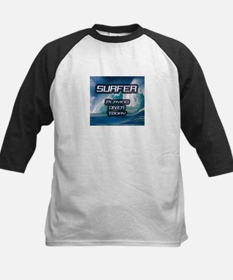 """Surfer Playing Diver Today"" Kids Baseball Jersey"