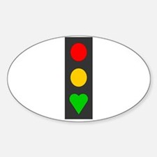 Red, Yellow, Heart! Oval Decal