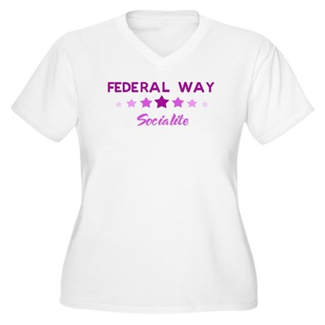 FEDERAL WAY socialite Women's Plus Size V-Neck T-S