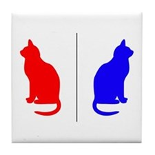 Male/Female Cat Restroom Litterbox Sign Tile