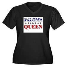 PALOMA for queen Women's Plus Size V-Neck Dark T-S